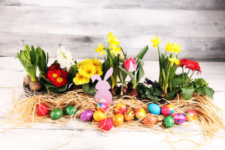 Easter eggs hiding in the grass with daffodil, tulips and other colorful spring flowers
