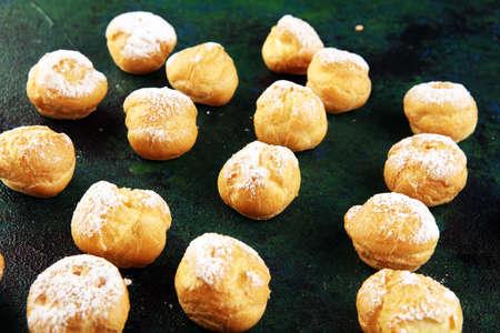Fresh Mini Cream Puffs. Cream biscuit bakery filled with vanilla cream