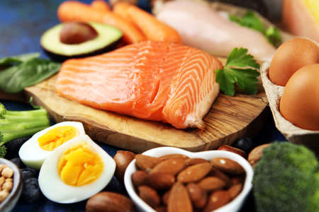 healthy eating and diet concept - natural rich in protein food on table Stockfoto