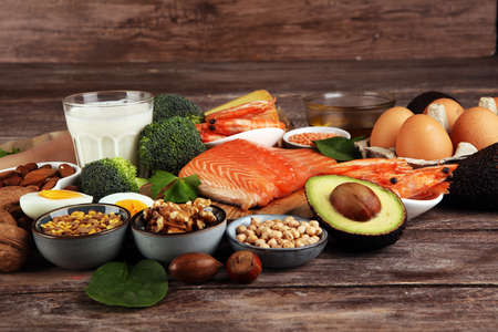 healthy eating and diet concept - natural rich in protein food on table Standard-Bild