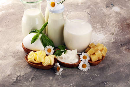 milk products. tasty healthy dairy products on a table on. mozzarella in a bowl, cottage cheese bowl, butter swirls and glass bottle