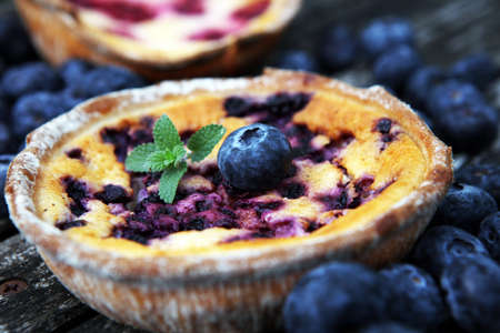 Blueberry pie or homemade cheesecake with blueberries. Delicous dessert blueberry tart on rustic background Reklamní fotografie