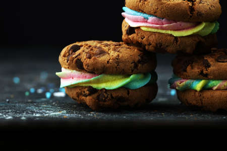 ice cream sandwiches. Chocolate Chip Cookie Ice Cream Sandwich on table