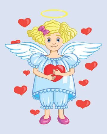 Smiling little angel holding a heart,   illustration Vector