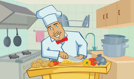kitchen illustration: Cartoon cheerful chef cooks in the kitchen,  illustration