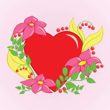 Valentine heart with floral ornaments,   illustration Stock Vector - 16322113
