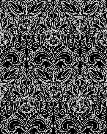 Seamless vintage floral pattern, black and white  illustration Vector