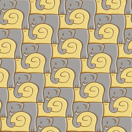 Seamless abstract pattern elephant and snail,  illustration Vector