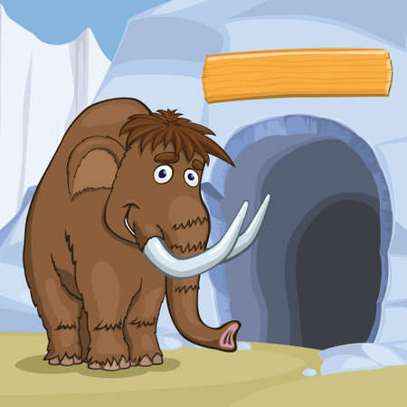 Mammoth near cave in the ice rock, eps10 vector illustration
