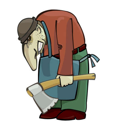 hunchback: Angry hunchback with an axe, vector illustration Illustration