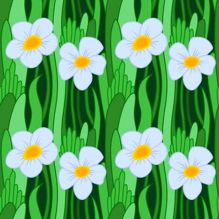 buttercup  decorative: Blue flower in green grass, vector illustration