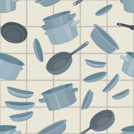 pans: Seamless background with cookware, vector illustration