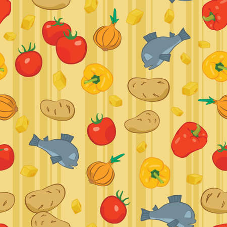 Seamless background with food, vector illustration Stock Vector - 16433576