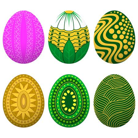 Set of easter eggs with different patterns, vector illustration Stock Vector - 16433584