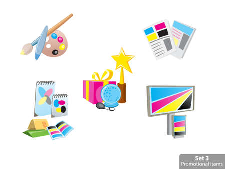 polygraphy: Icons set of promotional items, vector illustration