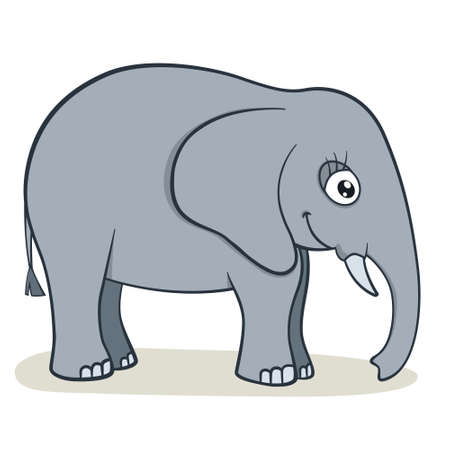 Cute cartoon elephant on isolated white background, vector illustration Vector