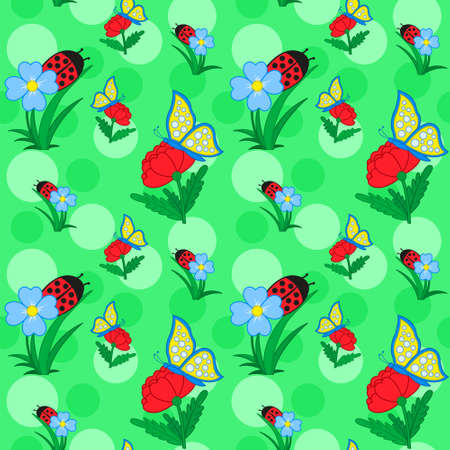 Seamless pattern with flowers and butterfly on background  for nursery wallpaper, vector illustration Vector