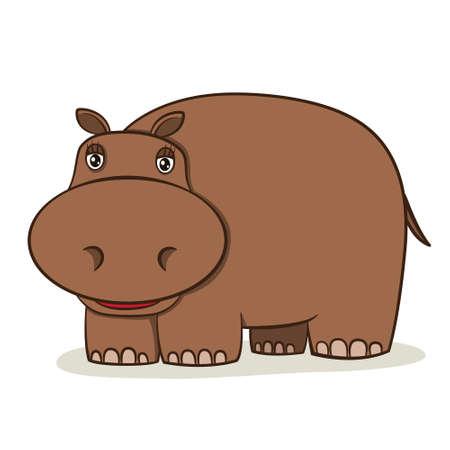 hipopotamo caricatura: Historieta linda del hipopótamo en fondo blanco, ilustración vectorial