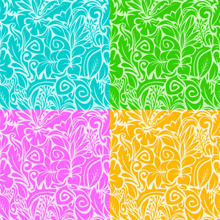 Seamless pattern background with multi colored contours of various plants, vector illustration Illustration
