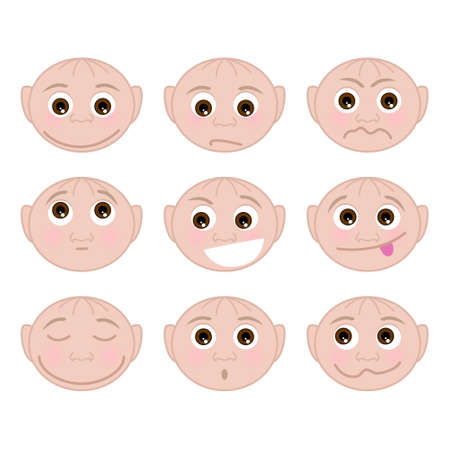 Set of faces with different emotions, vector illustration Vector