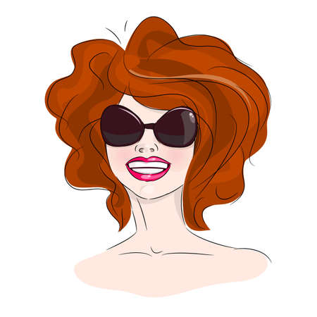 Smiling woman in sunglasses and bushy hair, vector illustration Vector