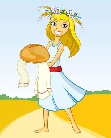 Happy girl with bread on the field, vector illustration Vector
