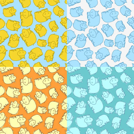 variegated: Seamless pattern with hippo on variegated colorful backgrounds, vector illustration
