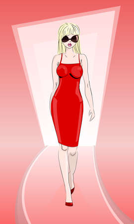 Fashion model in red dress on catwalk represents new collection clothes, vector illustration Ilustração
