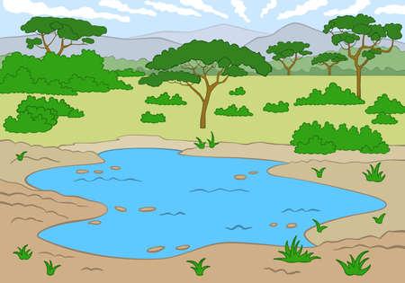 pozo de agua: Hermoso paisaje de la sabana, ilustración vectorial Vectores