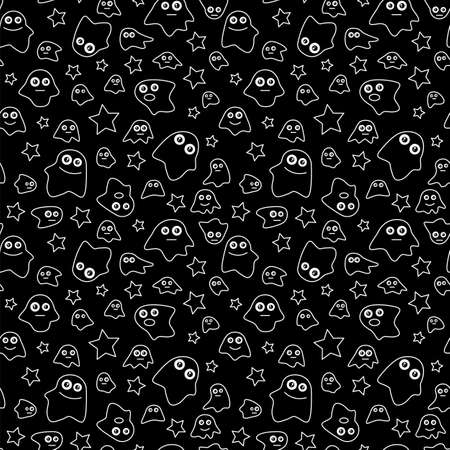 poltergeist: Seamless pattern with ghost and stars on black background, vector illustration