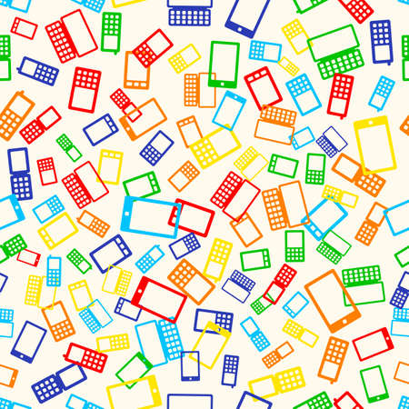 cdma: Seamless pattern with many mobile devices phone on light background, vector illustration