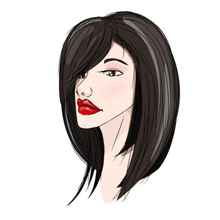 Portrait of beautiful with black hair young girl Stock Vector - 24542043