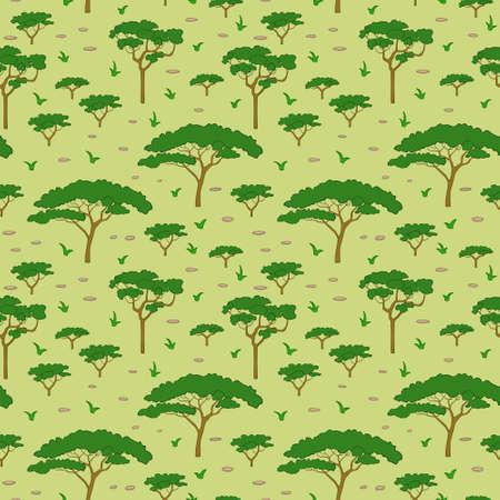 Seamless pattern savanna tree, vector illustration Vector
