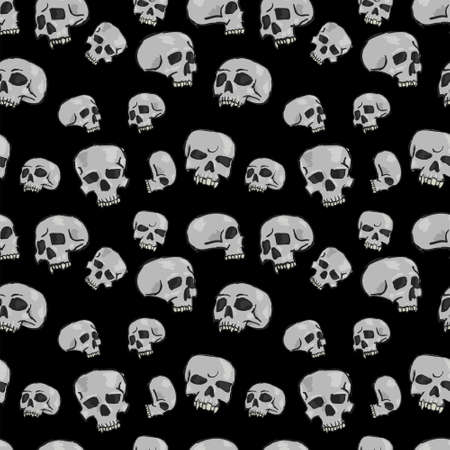 Seamless pattern with skulls on black background, vector illustration Vector