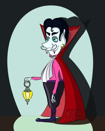 dark complexion: Cartoon vampire with a lantern, vector illustration