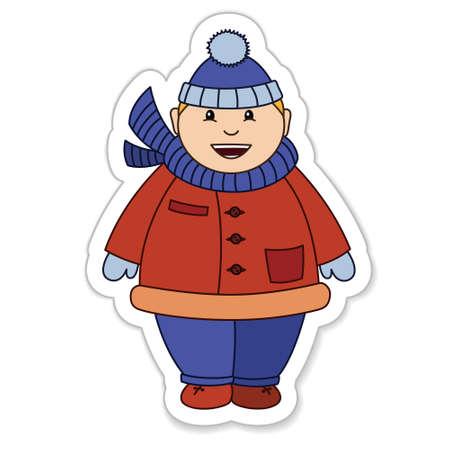 Cheerful fat boy in a warm winter fur coat, vector illustration Vector