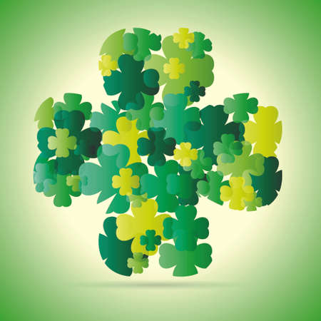 Abstract pattern with sliced four leaf clover on green  Vector