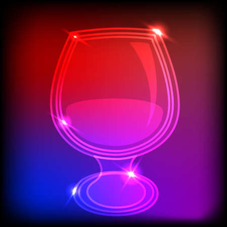 Icon neon glass, illustration Vector
