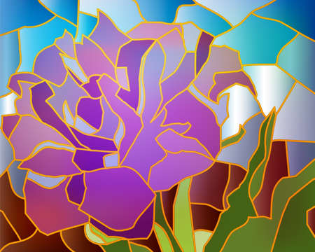 stained glass: Stained glass purple tulip, illustration