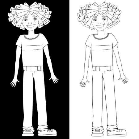 dreadlocks: Boy with dreadlocks, black and white illustration