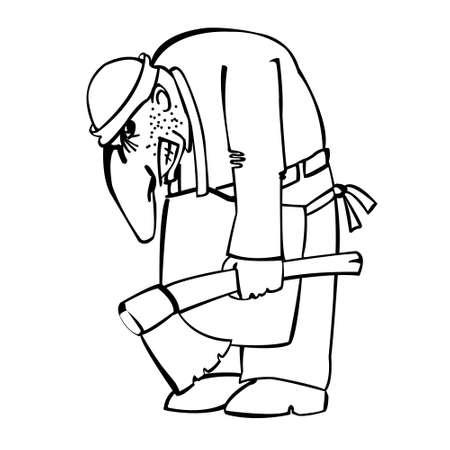 corcovado: Jorobado enojado con un hacha, ilustraci�n en blanco y negro Vectores