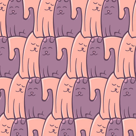 Abstract repeating pattern cats and dogs in romantic colors Vector