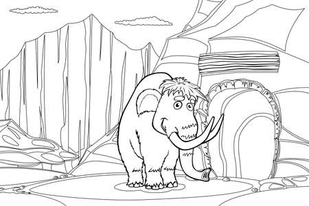 black mammoth: Mammoth near cave in the ice rock, black and white illustration