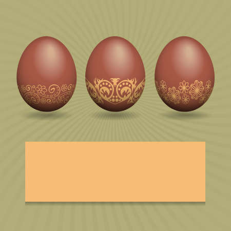 Greeting card with chocolate Easter eggs with space for text Vector