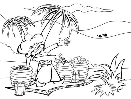 The seller sells spices and fruit in the desert, black and white illustration