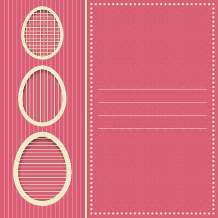 Easter eggs design in pink colors for invitation greeting card Vector