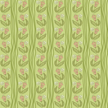 crooked: Seamless pattern with crooked wavy lines and flowers, vector texture background