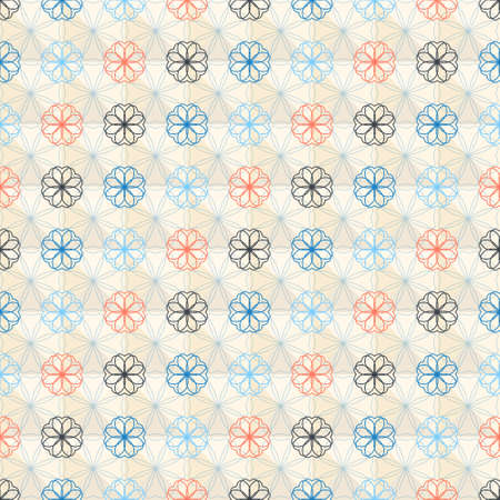 roll curtains: Seamless pattern with abstract geometric flower in pastel color, vector background Illustration