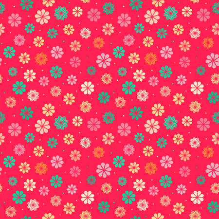 roll curtains: Colorful seamless background with abstract flowers, vector pattern for children clothes