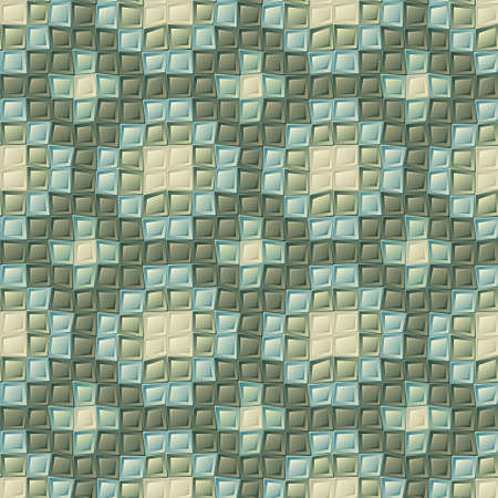 Seamless mosaic pattern with cubes, retro tiles background Vector